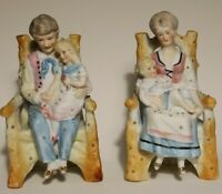 2 Antique German Bisque Porcelain Figurines Family Mother&Father&Daughter&Baby