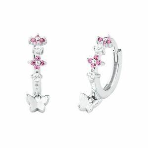 Prinzessin Lillifee Mädchen Schmetterling Creolen Ohrringe rosa Echt Silber 925