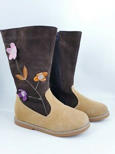 Norvic size 12 (31) brown suede lined side zip mid calf winter boots