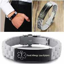 Food Allergy Epipen Medical Alert Bracelet Stainless Steel Adjustable Silicone