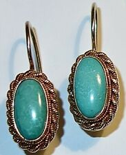 PAIR of NATIVE AMERICAN Antique/Vintage TURQUOISE Sterling DROP EARRINGS~LOT #2!