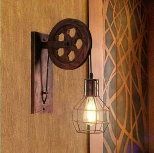 Industrial Retro Loft Wall Sconce Lamp Lifting Pulley Light Restaurant Fixtures