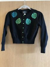 Collectif Jessie Tropical Palm Women's Cardigan Black/Green Cropped Vintage BNWT