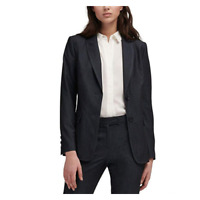DKNY Womens Notched Lapel Two-Button Blazer Office Wear Charcoal Gray Large