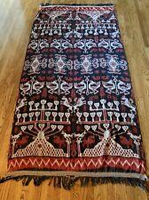 Vintage Hand Loomed Sumba Island Ikat Hinggi Wrap Tapestry Skull Trees Horses