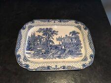 Adams Landscape June 1936 Meat Dish / Platter England Blue & White