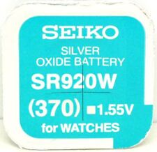 Seiko 370 (SR920W) Silver Oxide (0%Hg) Mercury Free Watch Battery Made in Japan