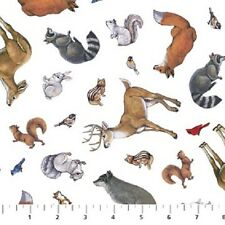Forest Animals White Woodland Winter Northcott Quilt Fabric 1 yard