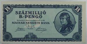 HUNGARY 100,000,000.B PENGO 1946 P#136 QUINTILLION SZAZ MILLIO B PENGO ...UNC!