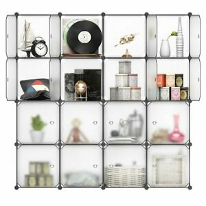 16 Cube DIY Interlocking Closet Storage Wardrobe Modular Hanging Storage Shelves