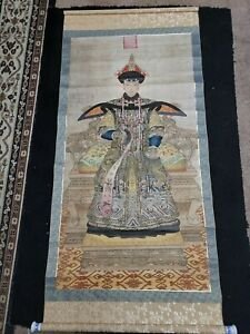 ANTIQUE CHINESE ANCESTOR  SCROLL PAINTING CLOTH CALLIGRAPHY CHINA