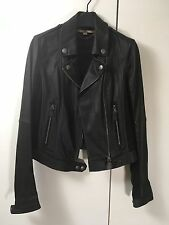 NEW Burberry Brit black ultra soft stretchy leather suede biker jacket fitted 8
