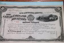 Vintage The Cedar Falls and Minnesota Railroad Company Stock Certificate Framed