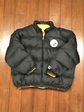 Vintage 90s Pittsburgh Steelers Reversible Starter Puffer Jacket RARE NFL XL/XXL