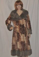 Vintage 70s 1970s HIppie Coat Patchwork Faux Fur Midi Length Quilted Liner S/M