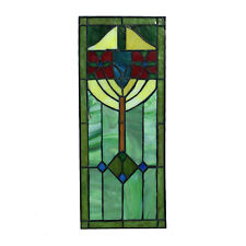 Stained Glass Window Pane in Hand Made Leaded Glass w Art Deco Pattern Small