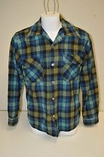 Vintage King's Road Shop Sears Long Sleeve Wool Plaid Shirt Size M 15-15 1/2 HTF