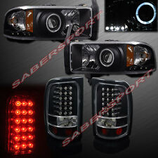 94-01 DODGE RAM PICKUP HALO PROJECTOR HEADLIGHTS BLACK w/ LED + LED TAIL LIGHTS