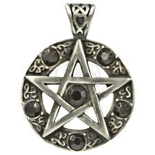SET Pentagramm Medaillon 925Silber z.Öffnen Wicca Giftdose mit Drehring PENTAKEL