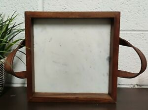 "White Marble Square Serving Tray Wooden Edges Leather Handles 10""x10"""