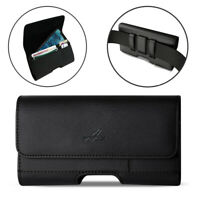 Agoz Sideways Leather Belt Clip Pouch for Phones Fitted with Lifeproof Cover