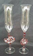 James Minson Art Glass Champagne / Wine Pretzel Glass w/ Red Dots Handmade