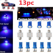 13Pc Blue Led Lights Interior Package Kit For Dome License Plate Lamp Bulb Mod (Fits: Neon)