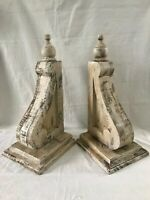 """TWO XL WOOD CORBELS Vintage Gable Brackets Corner Brace Roof Support 20"""" TALL"""