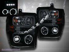 08-10 FORD F250 F350 F450 CCFL TWIN HALO BLACK PROJECTOR HEADLIGHTS w/ LED