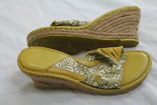 """Born """"Drilles"""" Shades of Beige Leather/Fabric Wedge Heels/Slides Sandals Size 11"""