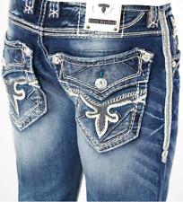 New Buckle Rock Revival Mens Blue Bard Slim Straight Stretch Denim Jeans 28 x 29