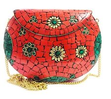 adede13af16 eid gift metal mosaic red stone bag ethnic clutch indian antique party purse