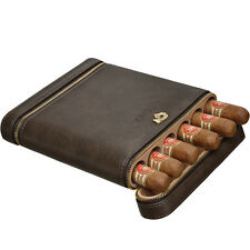 COHIBA Coffee Leather Cedar Lined 6 Tube Cigar Case Humidor W/ Humidifier