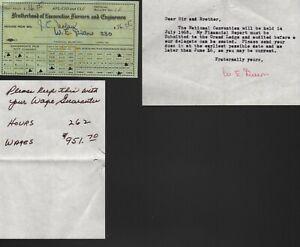 DUES RECEIPT RAILROAD BROTHERHOOD OF LOCOMOTIVE FIREMEN & ENGINEMEN UNION 1968