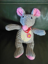 Doudou CP International Souris Jaune et Beige Grise Rose Velours Cotelé Neuf