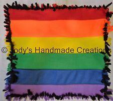 HANDMADE BABY / PET MINI FLEECE TIED SECURITY BLANKET - GAY PRIDE / LGBT 15 X 17
