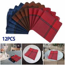 12Pcs Mens Handkerchiefs Gents Hankies 100% Pure Cotton Hankerchiefs Hanky Gift