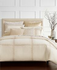 Hotel Collection Mosaic Grid Embroidered FULL/QUEEN Comforter BEIGE Bedding I195