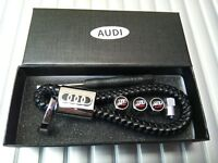 Audi Luxury leather keyring keychain fob with tyre valve dust caps Gift box set