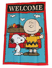 "PEANUTS SNOOPY AND CHARLIE BROWN WELCOME FLAG WITH RED BASKET FLAG~12"" x 18""~NEW"