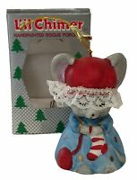 Lil Chimers Mouse w/ Stocking & Hat Christmas Ornament Bisque Porcelain Bell