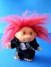 Vintage DAM Troll Doll 1986 Red Hair Tuxedo Groom Smile Orange Eyes Happy Smile