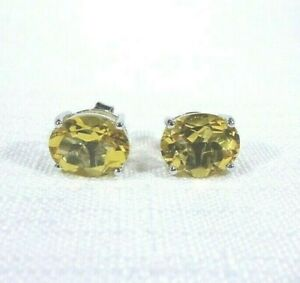 4.68ct Natural Oval Cut Citrine Solid Sterling Silver Stud/Post Earrings