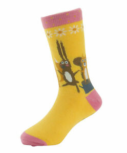 Girls Squirrel and Chums Socks in Yellow from Powder