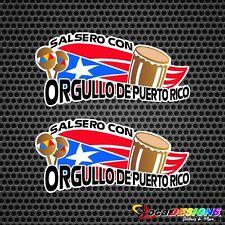 2x SALSERO CON ORGULLO DE PUERTO RICO VINYL CAR STICKERS DECALS
