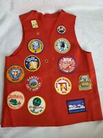 Vintage 1980's Felt Boy Scout Vest With 16 Patches & Pins Kansas Colorado Red