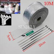 10m High Heat Insulation Fiberglass Wrap Exhaust Header Pipe Tape Cloth Silver