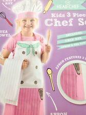 CHILDS THREE PIECE CHEF SET WHITE PINK STRIPE APRON HAT TEA TOWEL KITCHEN TOOLS