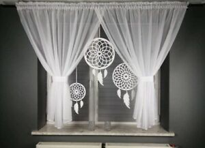 Amazing White Voile net curtain with felt Dreamcatcher Bedroom Pencil Pleat
