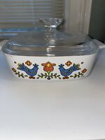 Vintage CORNING WARE 1 QUART A-1 B Covered Dish Country Festival Rooster W/lid